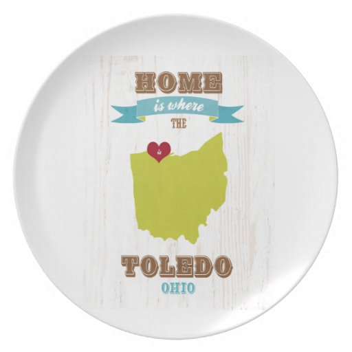 Toledo, Ohio Map – Home Is Where The Heart Is Party Plates