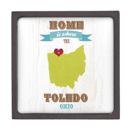 Toledo, Ohio Map – Home Is Where The Heart Is Premium Gift Boxes