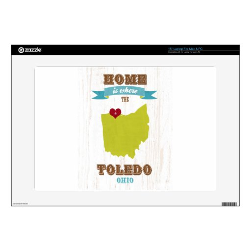 """Toledo, Ohio Map – Home Is Where The Heart Is Skin For 15"""" Laptop"""