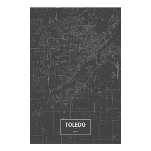 Toledo, Ohio (white on black) Poster