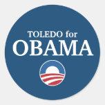 TOLEDO para el personalizado de Obama su ciudad pe Etiquetas