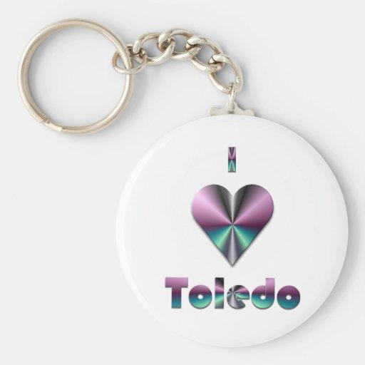 Toledo -- Púrpura y turquesa Llavero Redondo Tipo Pin