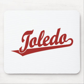 Toledo script logo in red mouse pad