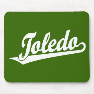 Toledo script logo in white mouse pads