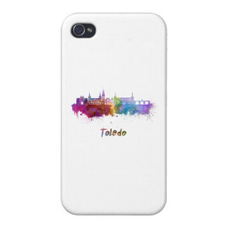 Toledo skyline in watercolor iPhone 4 cases
