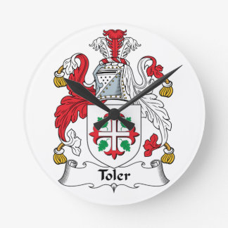 Toler Family Crest Round Wall Clocks