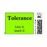 Tolerance   Live it, teach it. Postage Stamp