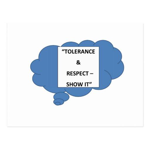 """Tolerance & Respect - Show It"" Post Card"