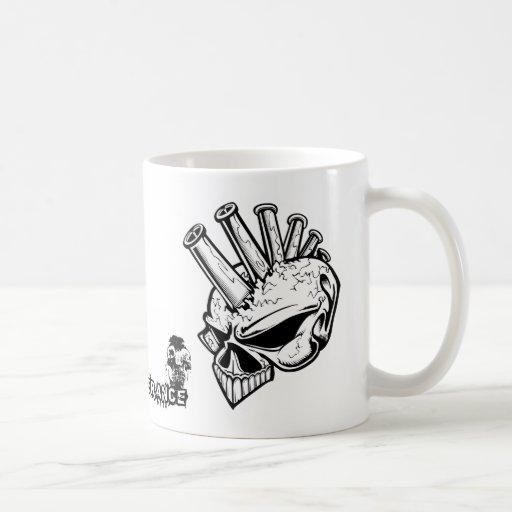 Tolerancia cero del cráneo del Mohawk Tazas De Café