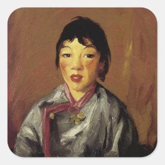 Tolerancia, chica chino pegatina cuadrada
