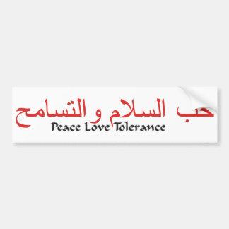 Tolerancia del amor de la paz pegatina de parachoque