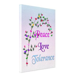 Tolerancia del amor de la paz impresion de lienzo