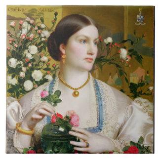 Tolerancia subió, 1866 (aceite en el panel) azulejo ceramica