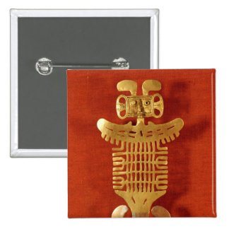 Tolima ornament in the form of a human-headed 2 inch square button