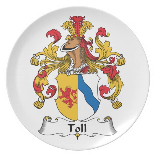 Toll Family Crest Party Plate