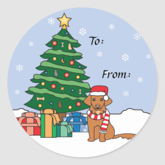 Toller and Christmas Tree Classic Round Sticker