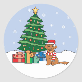 Toller and Christmas Tree Round Sticker