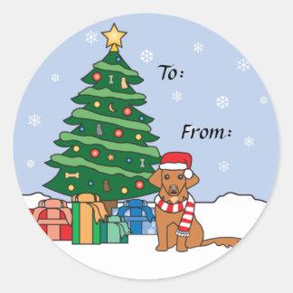 Toller y árbol de navidad etiquetas redondas