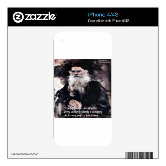 Tolstoy Anna Karenina Happy Families Alike Quote Decals For iPhone 4S