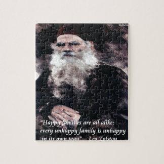 Tolstoy Anna Karenina Happy Families Alike Quote Jigsaw Puzzle