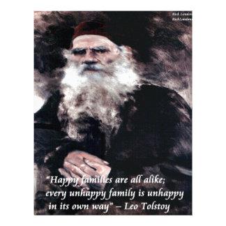 Tolstoy Anna Karenina Happy Families Alike Quote Letterhead
