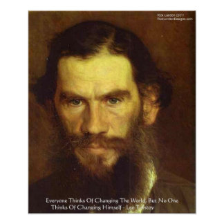 "Tolstoy ""Change Yourself"" Wisdom Quote Poster"