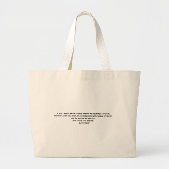Tolstoy vegetarian quote large tote bag