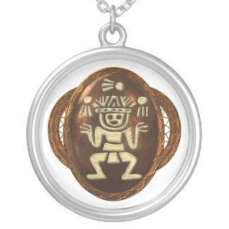 Toltec Juggler Round Pendant Necklace