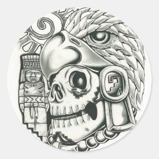Toltec Sun Warrior Classic Round Sticker