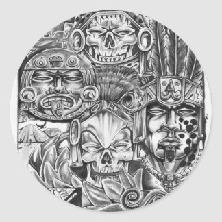 Toltec Warriors Classic Round Sticker