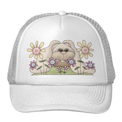 Tolvas de la abrazo • Conejito con las flores Gorro De Camionero