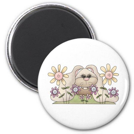 Tolvas de la abrazo • Conejito con las flores Imán Redondo 5 Cm