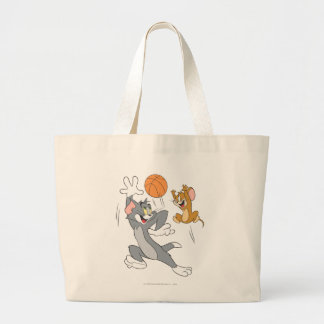 Tom and Jerry Basketball 1 Large Tote Bag