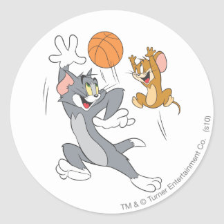 Tom and Jerry Basketball 1 Classic Round Sticker