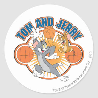 Tom and Jerry Basketball 4 Classic Round Sticker