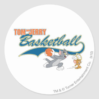 Tom and Jerry Basketball 5 Classic Round Sticker