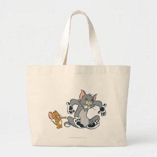 Tom and Jerry Black Paw Cat Large Tote Bag