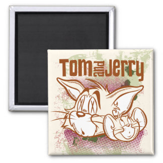 Tom and Jerry Brown and Green 2 Inch Square Magnet