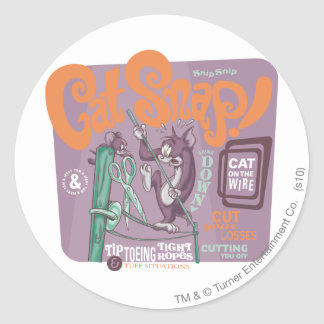 Tom and Jerry Cat Snap Classic Round Sticker