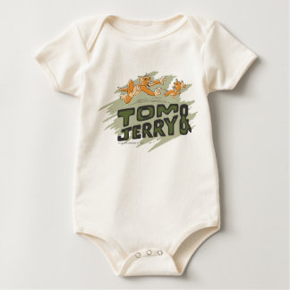 Tom and Jerry Chase Logo Baby Bodysuits