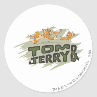 Tom and Jerry Chase Logo Classic Round Sticker