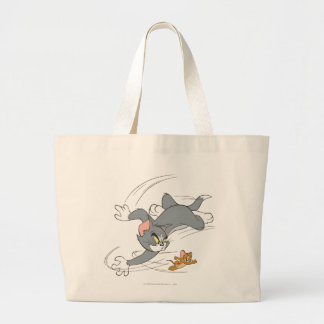 Tom and Jerry Chase Turn Large Tote Bag