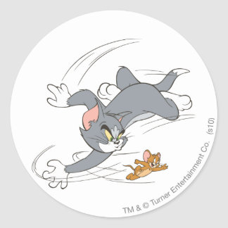 Tom and Jerry Chase Turn Classic Round Sticker