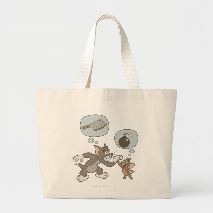 Tom and Jerry Evil Thoughts Large Tote Bag