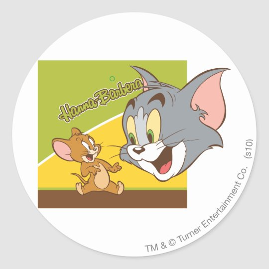 Tom and Jerry Hanna Barbera Logo Classic Round Sticker