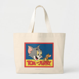 Tom And Jerry Logo Flat Large Tote Bag
