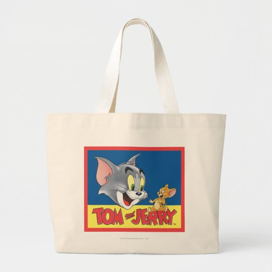 Tom And Jerry Logo Shaded Large Tote Bag