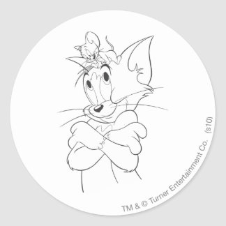 Tom and Jerry On Head Classic Round Sticker