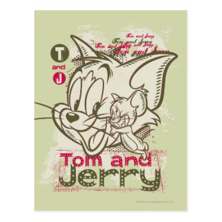 Tom and Jerry Pink and Green Postcard