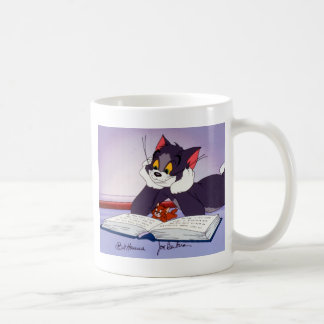 Tom And Jerry Reading Book Autographed Classic White Coffee Mug